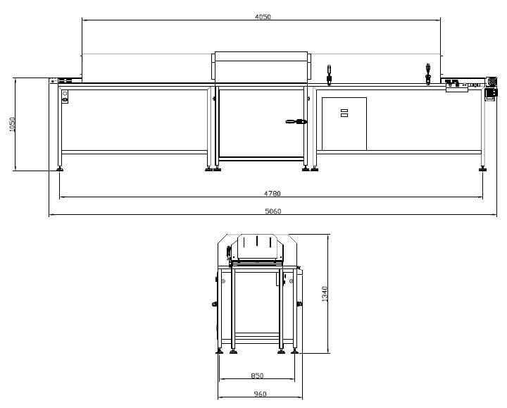Desenho técnico do túnel de resfriamento TR-V