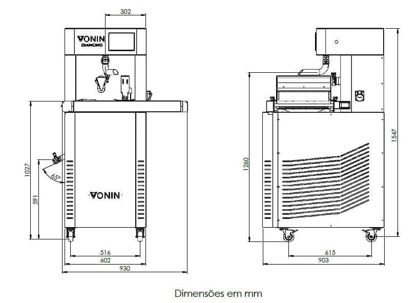 Desenho Técnico da Máquina Temperadeira, Derretedeira e Cobrideira de Chocolate Diamond T-50