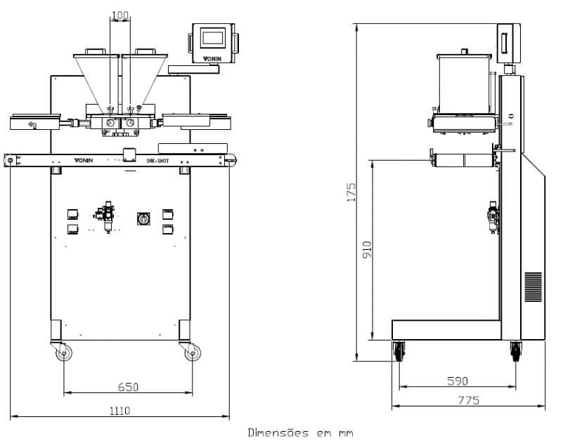 Desenho técnico da máquina dosadora One Shot OSD-5