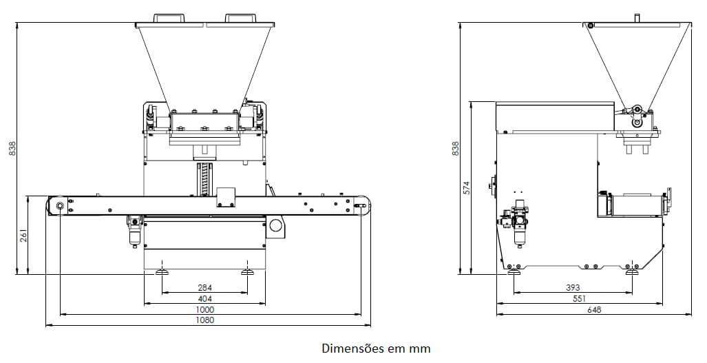 Desenho técnico da máquina dosadora One Shot Start Automática