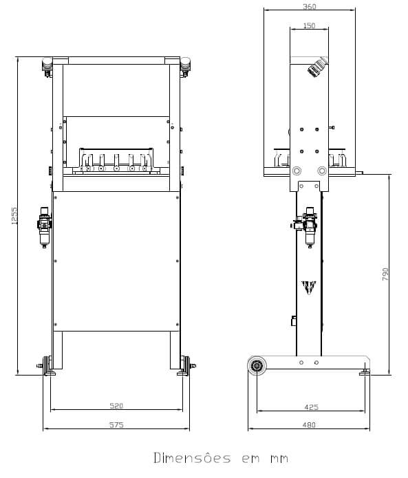 Desenho técnico da máquina fatiadora industrial FT-V
