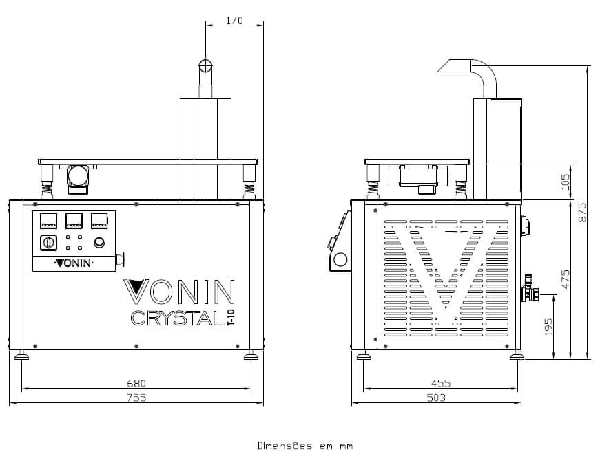 desenho técnico da máquina temperadeira e dosadora de chocolate Crystal T-10