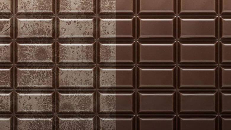 chocolate destemperado fat-bloom chocolate temperado brilhante meio a meio