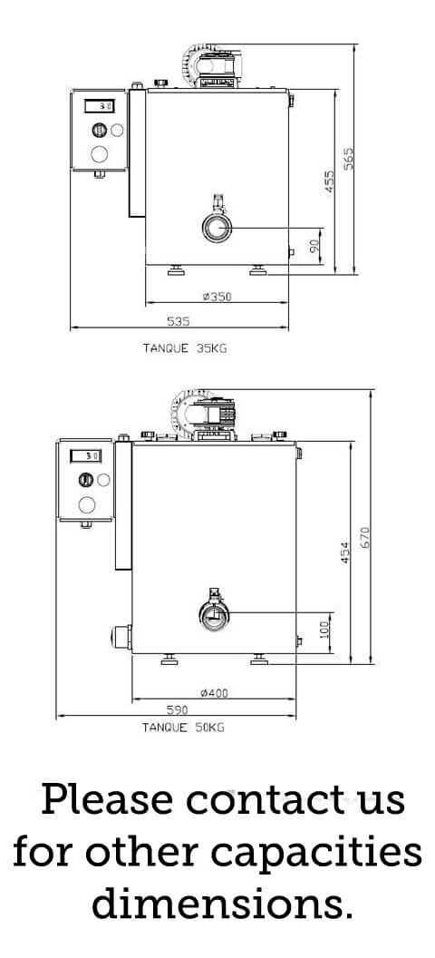 technical specifications for the industrial chocolate melter td-v